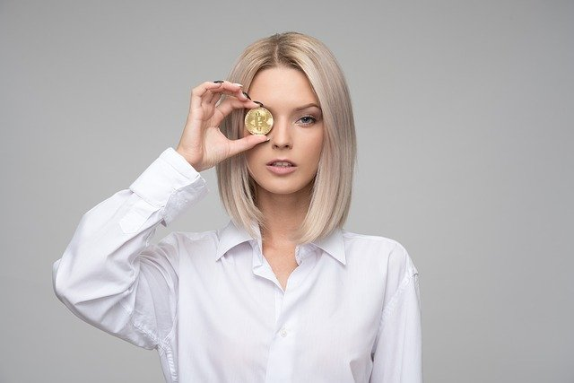 woman with coin